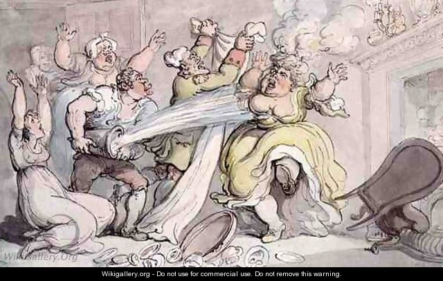 Lady with her Wig on Fire - Thomas Rowlandson