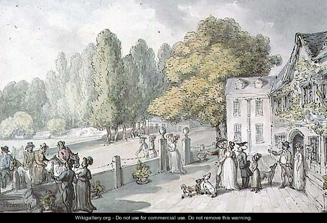 A House with Figures, Formerly Known as The Green, Richmond - Thomas Rowlandson