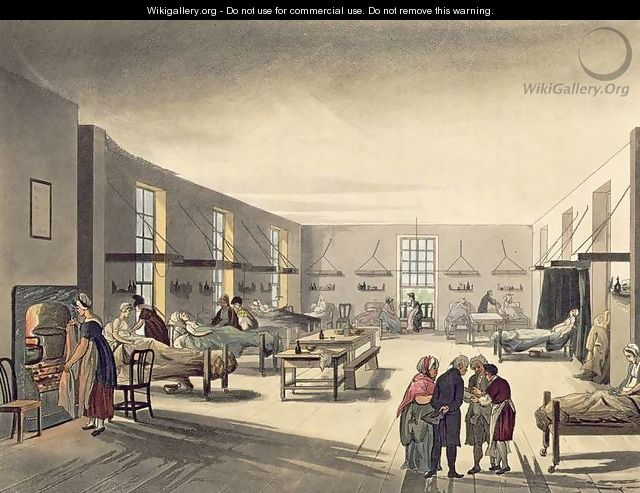 Middlesex Hospital from Ackermanns Microcosm of London - & Pugin, A.C. Rowlandson, T.