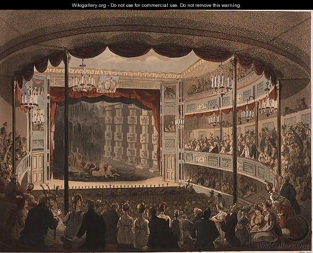 Sadlers Wells Theatre from Ackermanns Microcosm of London - & Pugin, A.C. Rowlandson, T.