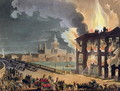 Fire at Albion Mill, Blackfriars Bridge, from Ackermanns Microcosm of London c.1808-11 - & Pugin, A.C. Rowlandson, T.