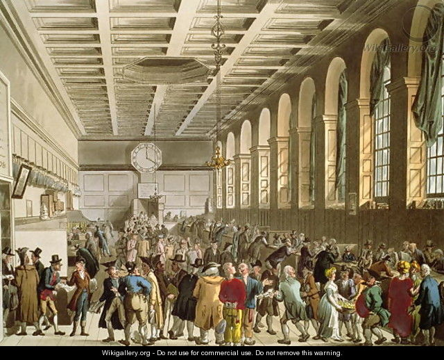 Customs House, The Long Room, from Ackermanns Microcosm of London - & Pugin, A.C. Rowlandson, T.