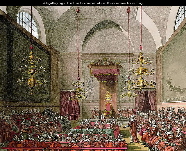 House of Lords from Ackermanns Microcosm of London - & Pugin, A.C. Rowlandson, T.