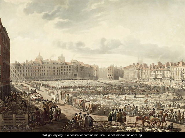 Birds Eye view of Smithfield Market - Thomas Rowlandson