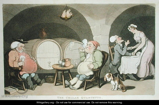 The Cellar Quartetto, from The Tour of Dr Syntax in search of the Picturesque, by William Combe, published 1812 - Thomas Rowlandson