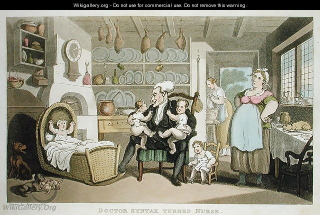 Doctor Syntax turned nurse, from The Tour of Dr Syntax in search of the Picturesque, by William Combe, published 1812 - Thomas Rowlandson