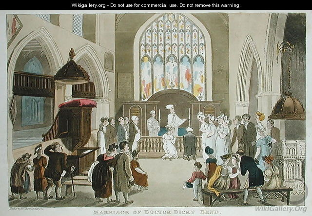 Marriage of Doctor Dicky Bend, from The Tour of Dr Syntax in search of the Picturesque, by William Combe, published 1812 - Thomas Rowlandson