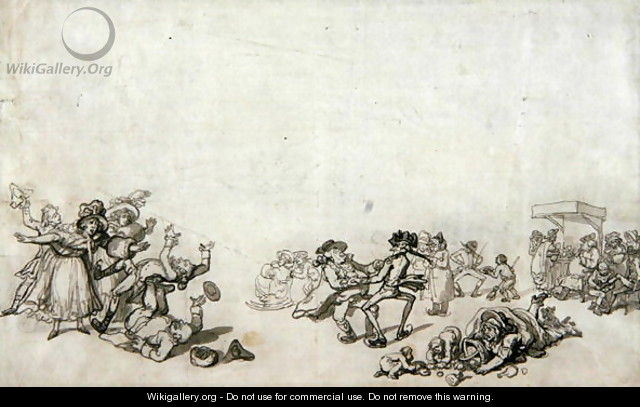 Study of Skaters Skating on the Serpentine, 1760-90 - Thomas Rowlandson