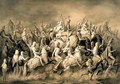 Maharaja Sher Sing of the Punjab and his entourage out hunting, engraved by Louis Henri de Rudder 1807-81 - Louis Henri de Rudder