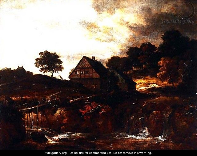 Wooded Landscape with peasant on a bridge over a torrent - (follower of) Ruisdael, Jacob I. van
