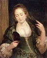 Girl with Mirror - (follower of) Rubens, Peter Paul