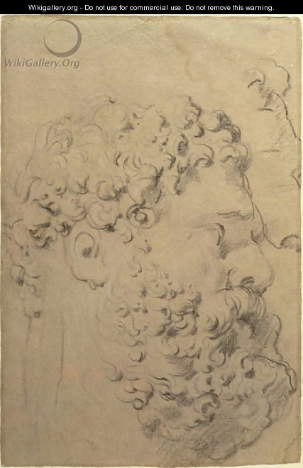 Studies of the head and profile of the Farnese Hercules by Glycon, verso, 1606-08 - and Snyders, F. Rubens, Peter Paul