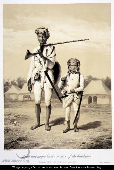 Arab and Negro in the Service of the Guickwar, from Voyage in India, engraved by Louis Henri de Rudder 1807-81 pub. in London, 1858 - Louis Henri de Rudder
