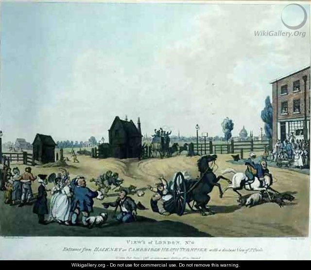 Views of London, No. 6 Entrance from Hackney or Cambridge Heath Turnpike with a Distant View of St. Pauls, engraved by Schutz, pub. at Ackermanns Gallery, 1798 - (after) Rowlandson, Thomas