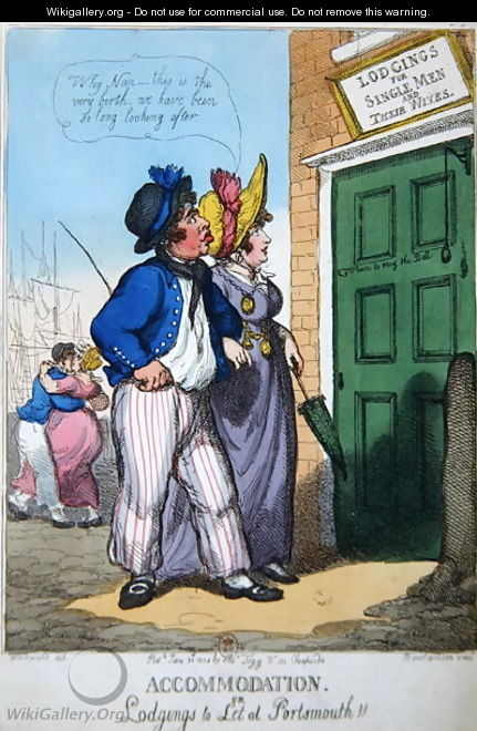 Lodgings for Single Men and their Wives in Portsmouth, 1808 - (after) Rowlandson, Thomas