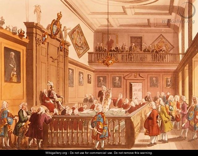 The Court of Chivalry in session in the Earl Marshals Court at the College of Arms from Ackermanns Microcosm of London, 1809 - & Pugin, A.C. Rowlandson, T.