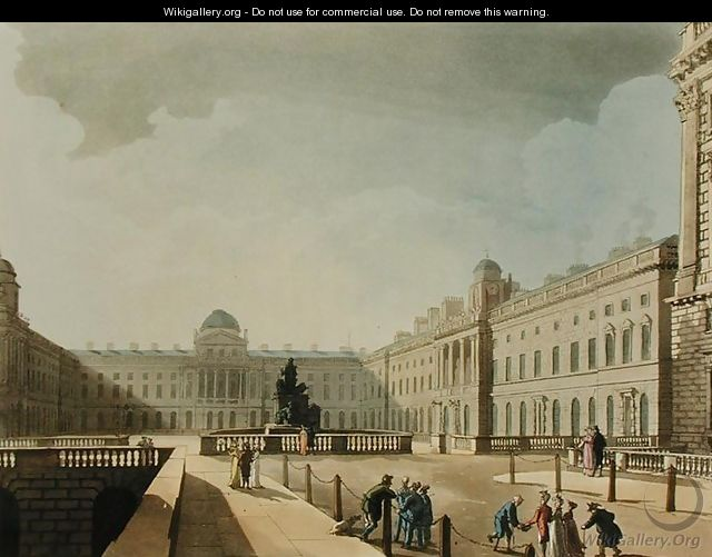 Somerset House, Strand, from Ackermanns Microcosm of London, engraved by John Bluck fl.1791-1819, 1809 - & Pugin, A.C. Rowlandson, T.
