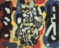 Divers on a Yellow Background - Fernand Leger