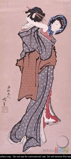 Woman Looking in Mirror - Katsushika Hokusai