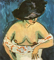 Female Nude with Hat - Ernst Ludwig Kirchner