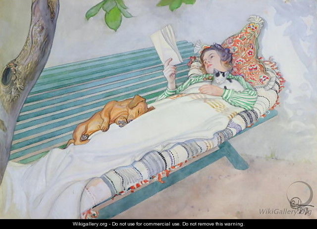 Woman Lying on a Bench - Carl Larsson