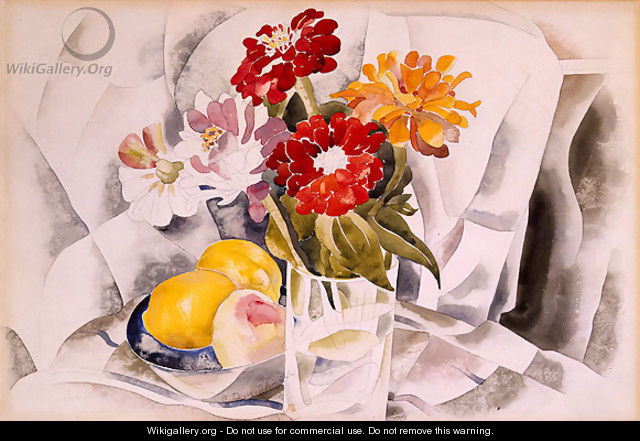 Zinnias and a Blue Dish with Lemons - Charles Demuth