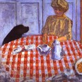 The Red-Checkered Tablecloth - Pierre Bonnard