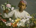 Young Woman with Peonies - Frederic Bazille