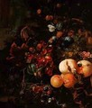 Still Life of Fruit and Insects - Jan Mortel