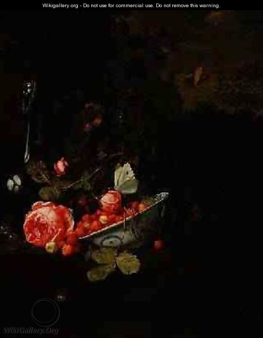 Still Life of Wild Strawberries a Rose and a Glass Bottle 1690 - Jan Mortel