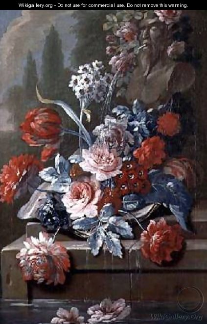 Still Life of Flowers by a Fountain - Mary Moser