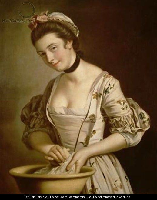 A Ladys Maid Soaping Linen - Henry Robert Morland