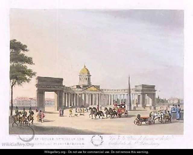 View of the Square of Kassan and the Cathedral at St Petersburg - (after) Mornay