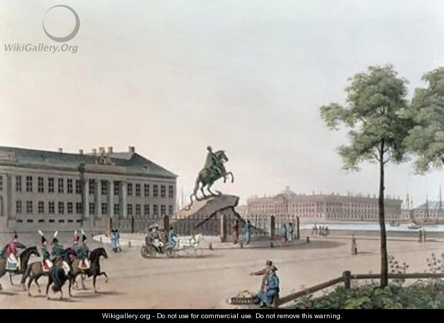 View of the Place of Peter the Great and the Senate House at St Petersburg - (after) Mornay