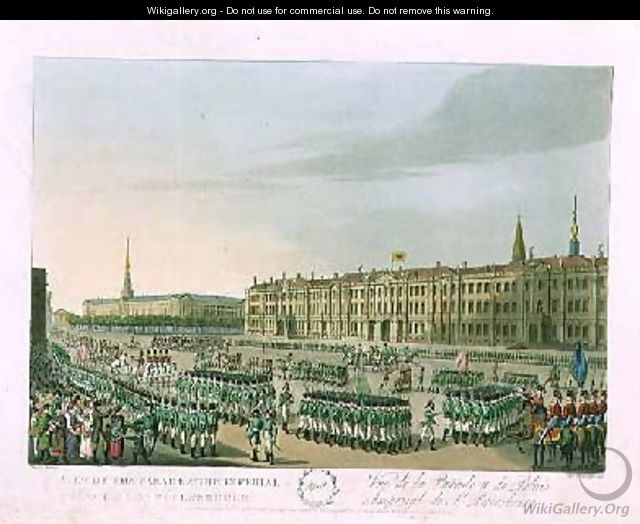 View of the Parade and the Imperial Palace at St Petersburg - (after) Mornay