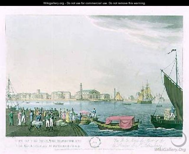 View of the Neva the Harbour and the Exchange at St Petersburg - (after) Mornay