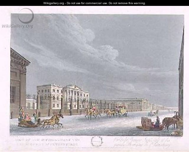 View of the Imperial Bank and the Shops at St Petersburg - (after) Mornay