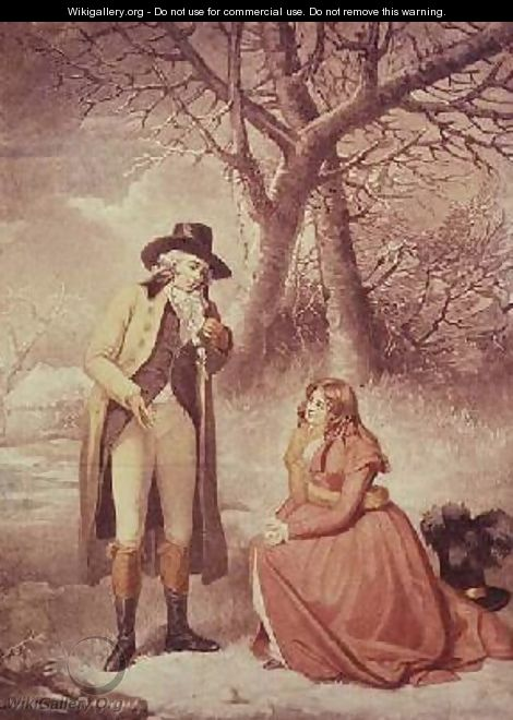 Gentleman and woman in a wintry scene - George Morland