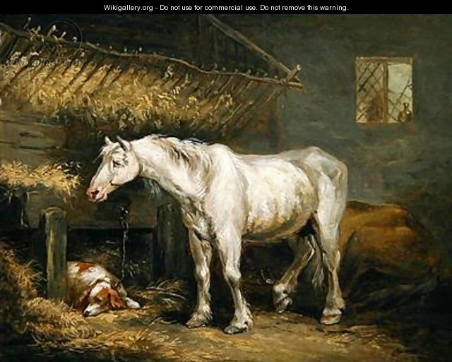Old horses with a dog in a stable 1791 - George Morland