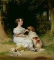 A Young Girl with Her Spaniel 1832 - Alexander Mosses