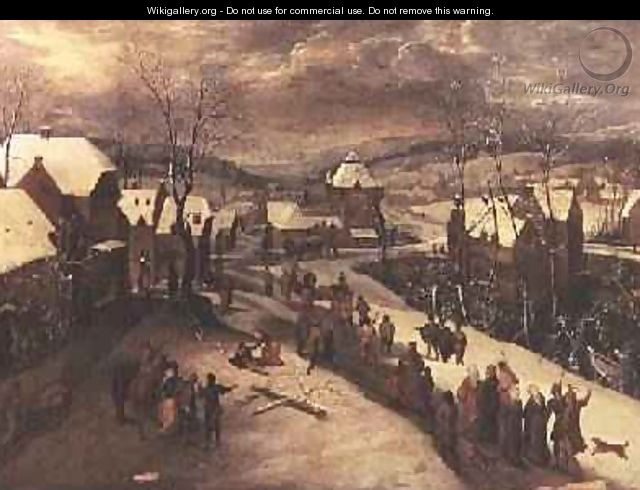 Winter Landscape with Procession - Gillis Mostaert