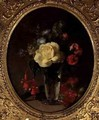 Still Life of a Yellow Rose Mignonette and Fuchsias - Annie Feray Mutrie