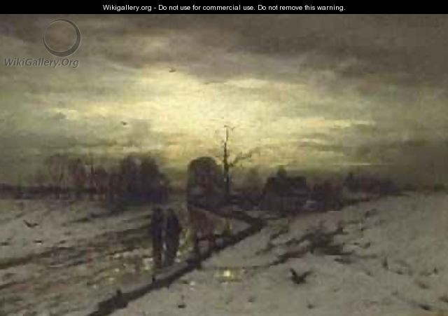 Snow Scene Sunset - Ludwig Munthe