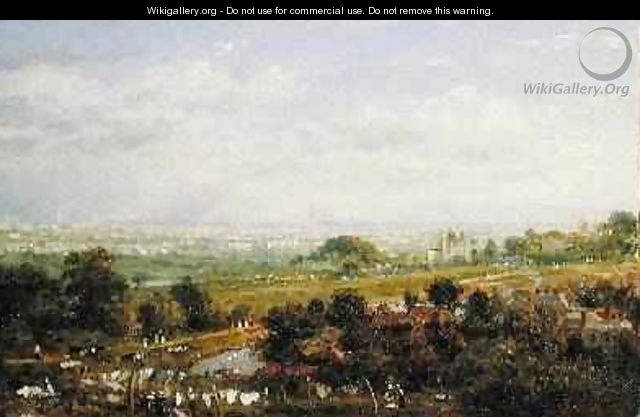 London from Islington Hill 1820-30 - Frederick Nash