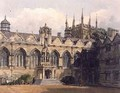 Exterior of Oriel College illustration from the History of Oxford - Frederick Nash