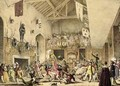 Twelfth Night Revels in the Great Hall Haddon Hall Derbyshire from Architecture of the Middle Ages 1838 - Joseph Nash