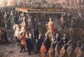 The coronation procession of Joseph II 1741-90 Emperor of Germany in Romerberg 1764 - Martin II Mytens or Meytens