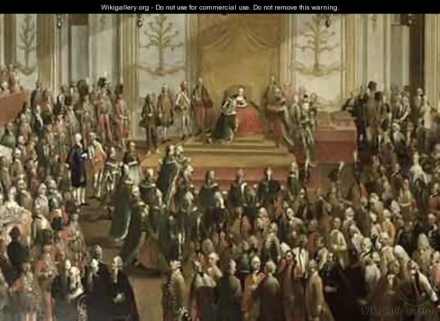 Maria Theresa at the Investiture of the Order of St Stephen 1764 - Martin II Mytens or Meytens