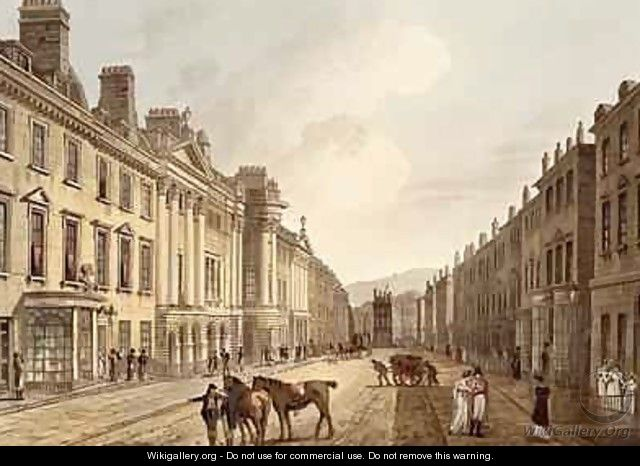 Milsom Street from Bath Illustrated by a Series of Views - John Claude Nattes