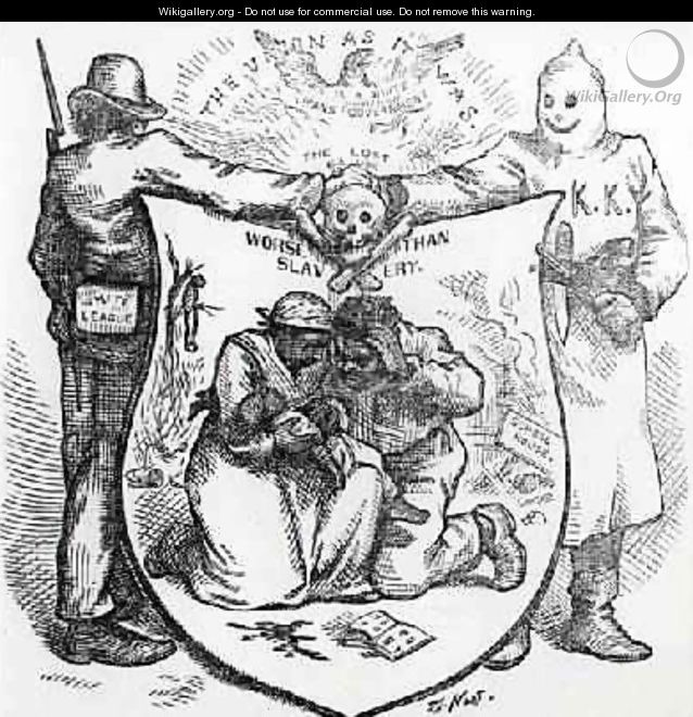 The White League and the Ku Klux Klan Worse than Slavery cartoon from Harpers Weekly 1874 - Thomas Nast
